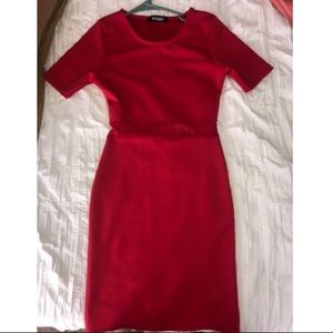 Red dress with mesh detail